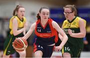 23 January 2018; Emma Mullins of St Colmcille's Community School in action against Niamh Maughan of Jesus & Mary Gortnor Abbey during the Subway All-Ireland Schools U16C Girls Cup Final match between Jesus & Mary Gortnor Abbey and St Colmcilles Knocklyon at the National Basketball Arena in Tallaght, Dublin. Photo by David Fitzgerald/Sportsfile
