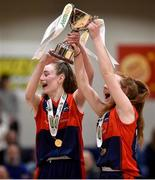 23 January 2018; St Colmcille's Community School joint-captains Emma Mullins, left, and Hannah Byrne lift the trophy following the Subway All-Ireland Schools U16C Girls Cup Final match between Jesus & Mary Gortnor Abbey and St Colmcilles Knocklyon at the National Basketball Arena in Tallaght, Dublin. Photo by David Fitzgerald/Sportsfile