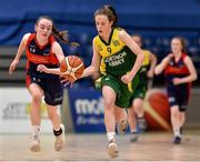 23 January 2018; Annie Gough of Jesus & Mary Gortnor Abbey in action against Emma Mullins of St Colmcille's Community School during the Subway All-Ireland Schools U16C Girls Cup Final match between Jesus & Mary Gortnor Abbey and St Colmcilles Knocklyon at the National Basketball Arena in Tallaght, Dublin. Photo by David Fitzgerald/Sportsfile