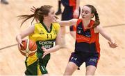 23 January 2018; Eilish Keane of Jesus & Mary Gortnor Abbey in action against Emma Mullins of St Colmcille's Community School during the Subway All-Ireland Schools U16C Girls Cup Final match between Jesus & Mary Gortnor Abbey and St Colmcilles Knocklyon at the National Basketball Arena in Tallaght, Dublin. Photo by David Fitzgerald/Sportsfile