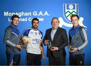 23 January 2018; Celtic Pure, the Irish natural spring water company, today announced a new sponsorship of the Monaghan senior football team as a Tier Two jersey sponsor. With hydration being a key pillar of sports performance, this role sees Celtic Pure lend extended support to the Monaghan set-up and is a step up from their previous status as official water partner. They will continue to ensure the provision of water for training and match days throughout the year for the team. Pictured is Padraig McEneaney, CEO Celtic Pure, with Monaghan footballers, from left, Darren Hughes, Drew Wylie, Jack McCarron at Monaghan GAA Training Grounds in Cloghan, Co. Monaghan   Photo by Sam Barnes/Sportsfile