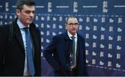 24 January 2018: Republic of Ireland manager Martin O'Neill and Peter Sherrard, left, Operations Director, Football Association of Ireland, arrive ahead of the UEFA Nations League Draw in Lausanne, Switzerland. Photo by Stephen McCarthy / UEFA via Sportsfile