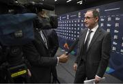 24 January 2018: Republic of Ireland manager Martin O'Neill after the UEFA Nations League Draw in Lausanne, Switzerland. Photo by Stephen McCarthy / UEFA via Sportsfile