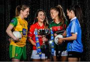 24 January 2018; Lidl Ireland today announced a third year of partnership with the Ladies Gaelic Football Association. The next phase of the campaign will see Lidl investing further in the LGFA where it matters most at local level and in the community. This is where #SeriousSupport is born and nurtured through the dedication of a local community. To celebrate their third year of partnership with the LGFA, Lidl have today launched their new 6-pack of Carrick Glen Active Spring Water. 10 cents from each purchase will fund jerseys and equipment for U-18, or under, LGFA club teams. Nominate your local Ladies Gaelic Football club to win in any Lidl store nationwide, or via Lidl s Facebook Page. Throughout the year, Lidl will run various initiatives to benefit all levels of Ladies Gaelic Football, following on from the successful Serious Starts Here campaign in 2017. The new branded Carrick Glen Active Spring Water packs will hit Lidl stores next week. Pictured are Ladies Footballers, from left, Roisin Friel of Donegal, Orlagh Farmer of Cork, Sarah Rowe of Mayo, and Sinead Goldrick of Dublin, at Lidl Head Office, Tallaght, Dublin. Photo by Seb Daly/Sportsfile