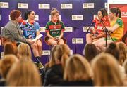 24 January 2018; Lidl Ireland today announced a third year of partnership with the Ladies Gaelic Football Association. The next phase of the campaign will see Lidl investing further in the LGFA where it matters most at local level and in the community. This is where #SeriousSupport is born and nurtured through the dedication of a local community. To celebrate their third year of partnership with the LGFA, Lidl have today launched their new 6-pack of Carrick Glen Active Spring Water. 10 cents from each purchase will fund jerseys and equipment for U-18, or under, LGFA club teams. Nominate your local Ladies Gaelic Football club to win in any Lidl store nationwide, or via Lidl's Facebook Page. Throughout the year, Lidl will run various initiatives to benefit all levels of Ladies Gaelic Football, following on from the successful Serious Starts Here campaign in 2017. The new branded Carrick Glen Active Spring Water packs will hit Lidl stores next week. Pictured is Cliona Foley, presenter of Off The Bench, with Ladies Footballers, from left, Sinead Goldrick of Dublin, Sarah Rowe of Mayo, Orlagh farmer of Cork, and Roisin Friel of Donegal at Lidl Head Office, Tallaght, Dublin. Photo by Seb Daly/Sportsfile