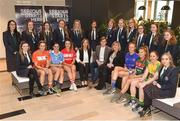 24 January 2018; Lidl Ireland today announced a third year of partnership with the Ladies Gaelic Football Association. The next phase of the campaign will see Lidl investing further in the LGFA where it matters most at local level and in the community. This is where #SeriousSupport is born and nurtured through the dedication of a local community. To celebrate their third year of partnership with the LGFA, Lidl have today launched their new 6-pack of Carrick Glen Active Spring Water. 10 cents from each purchase will fund jerseys and equipment for U-18, or under, LGFA club teams. Nominate your local Ladies Gaelic Football club to win in any Lidl store nationwide, or via Lidl's Facebook Page. Throughout the year, Lidl will run various initiatives to benefit all levels of Ladies Gaelic Football, following on from the successful Serious Starts Here campaign in 2017. The new branded Carrick Glen Active Spring Water packs will hit Lidl stores next week. Pictured are President of the Ladies Gaelic Football Association Maire Hickey, LFGA CEO Helen O'Rourke and Jay Wilson, Sponsorship Manager Lidl, with Ladies Footballers, from left, Caroline O'Hanlon of Armagh, Sinead Goldrick of Dublin, Orlagh farmer of Cork, Aishling Moloney of Tipperary, Sarah Rowe of Mayo and Roisin Friel of Donegal, with pupils of Presentation Secondary School Kilkenny, at Lidl Head Office, Tallaght, Dublin. Photo by Seb Daly/Sportsfile