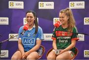 24 January 2018; Lidl Ireland today announced a third year of partnership with the Ladies Gaelic Football Association. The next phase of the campaign will see Lidl investing further in the LGFA where it matters most at local level and in the community. This is where #SeriousSupport is born and nurtured through the dedication of a local community. To celebrate their third year of partnership with the LGFA, Lidl have today launched their new 6-pack of Carrick Glen Active Spring Water. 10 cents from each purchase will fund jerseys and equipment for U-18, or under, LGFA club teams. Nominate your local Ladies Gaelic Football club to win in any Lidl store nationwide, or via Lidl's Facebook Page. Throughout the year, Lidl will run various initiatives to benefit all levels of Ladies Gaelic Football, following on from the successful Serious Starts Here campaign in 2017. The new branded Carrick Glen Active Spring Water packs will hit Lidl stores next week. Pictured are Ladies Footballers Sinead Goldrick of Dublin and Sarah Rowe of Mayo, during a podcast, at Lidl Head Office, Tallaght, Dublin. Photo by Seb Daly/Sportsfile
