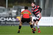 24 January 2018; Scott Doyle of Wesley College in action against Logan Brady of CBC Monkstown Park during the Bank of Ireland Leinster Schools Vinnie Murray Cup Semi-Final match between CBC Monkstown Park and Wesley College at Donnybrook Stadium in Dublin. Photo by Piaras Ó Mídheach/Sportsfile
