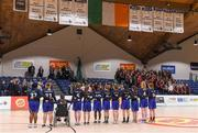 25 January 2018; The Crescent Comprehensive team stand together for the national anthem prior to the Subway All-Ireland Schools U16A Girls Cup Final match between Crescent Comprehensive, Limerick, and Scoil Chriost Rí, Portlaoise, Laois, at the National Basketball Arena in Tallaght, Dublin. Photo by Brendan Moran/Sportsfile
