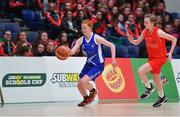 25 January 2018; Aoife Morrissey of Crescent Comprehensive in action against Grainne O'Reilly of Scoil Chríost Rí during the Subway All-Ireland Schools U16A Girls Cup Final match between Crescent Comprehensive, Limerick, and Scoil Chriost Rí, Portlaoise, Laois, at the National Basketball Arena in Tallaght, Dublin. Photo by Brendan Moran/Sportsfile