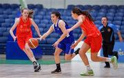 25 January 2018; Tara Nealon of Crescent Comprehensive in action against Grainne O'Reilly, left, and Jasmin Burke of Scoil Chríost Rí during the Subway All-Ireland Schools U16A Girls Cup Final match between Crescent Comprehensive, Limerick, and Scoil Chriost Rí, Portlaoise, Laois, at the National Basketball Arena in Tallaght, Dublin. Photo by Brendan Moran/Sportsfile