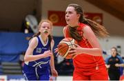 25 January 2018; Sarah Fleming of Scoil Chríost Rí in action against Amy O'Byrne of Crescent Comprehensive during the Subway All-Ireland Schools U16A Girls Cup Final match between Crescent Comprehensive, Limerick, and Scoil Chriost Rí, Portlaoise, Laois, at the National Basketball Arena in Tallaght, Dublin. Photo by Brendan Moran/Sportsfile