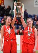25 January 2018; Scoil Chriost Rí co-captains Jasmine Burke, left, and Sarah Fleming lifts the cup after the Subway All-Ireland Schools U16A Girls Cup Final match between Crescent Comprehensive, Limerick, and Scoil Chriost Rí, Portlaoise, Laois, at the National Basketball Arena in Tallaght, Dublin. Photo by Brendan Moran/Sportsfile