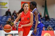 25 January 2018; Jade Burke of Scoil Chríost Rí  is dispossessed by Sally Dickson of Crescent Comprehensive during the Subway All-Ireland Schools U16A Girls Cup Final match between Crescent Comprehensive, Limerick, and Scoil Chriost Rí, Portlaoise, Laois, at the National Basketball Arena in Tallaght, Dublin. Photo by Brendan Moran/Sportsfile
