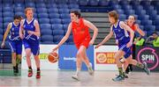 25 January 2018; Shauna Dooley of Scoil Chríost Rí in action against Aoife Morrissey, left, and Rachel Buckley of Crescent Comprehensive during the Subway All-Ireland Schools U16A Girls Cup Final match between Crescent Comprehensive, Limerick, and Scoil Chriost Rí, Portlaoise, Laois, at the National Basketball Arena in Tallaght, Dublin. Photo by Brendan Moran/Sportsfile