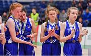 25 January 2018; Crescent Comprehensive players, from left, Amy O'Byrne, Tara Nealon, Rachel Buckley and Hannah Dundon after the Subway All-Ireland Schools U16A Girls Cup Final match between Crescent Comprehensive, Limerick, and Scoil Chriost Rí, Portlaoise, Laois, at the National Basketball Arena in Tallaght, Dublin. Photo by Brendan Moran/Sportsfile