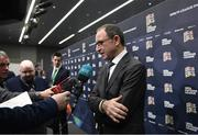 24 January 2018: Republic of Ireland head coach Martin O'Neill speaks to media in the Mixed Zone after the UEFA Nations League Draw in Lausanne, Switzerland. Photo by Stephen McCarthy / UEFA via Sportsfile