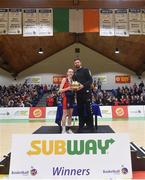 23 January 2018; Emma Mullins of St Colmcille's Community School is presented with the MVP award by Templeogue and Ireland basketballer Jason Killeen the Subway All-Ireland Schools U16C Girls Cup Final match between Jesus & Mary Gortnor Abbey and St Colmcilles Knocklyon at the National Basketball Arena in Tallaght, Dublin. Photo by David Fitzgerald/Sportsfile