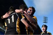 25 January 2018; Conor Martin of Patricians Newbridge is congratulated by team mates Aidan O'Brien, right, and Kyle O'Brien after he scored his side's winning try during the Pat Rossiter Cup Final match between Ballymakenny and Patricians Newbridge at Donnybrook Stadium in Dublin. Photo by David Fitzgerald/Sportsfile