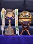 25 January 2018; A general view of the cup and MVP award prior to the Subway All-Ireland Schools U16A Girls Cup Final match between Crescent Comprehensive, Limerick, and Scoil Chriost Rí, Portlaoise, Laois, at the National Basketball Arena in Tallaght, Dublin. Photo by Brendan Moran/Sportsfile