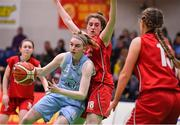 26 January 2018; Bronagh Power-Cassidy of DCU Mercy in action against Katie Walshe of Brunell during the Hula Hoops Under 20 Women's National Cup Final match between Brunell and DCU Mercy at the National Basketball Arena in Tallaght, Dublin. Photo by Brendan Moran/Sportsfile