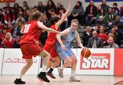 26 January 2018; Bronagh Power-Cassidy of DCU Mercy in action against Katie Walshe and Alex Macheta of Brunell during the Hula Hoops Under 20 Women's National Cup Final match between Brunell and DCU Mercy at the National Basketball Arena in Tallaght, Dublin. Photo by Brendan Moran/Sportsfile