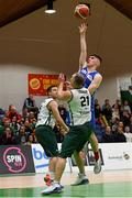 27 January 2018; Blake Murphy of Blue Demons in action against Giedrius Trakauskas of BC Leixlip Zalgiris during the Hula Hoops NICC Men's National Cup Final match between Blue Demons and BC Leixlip Zalgiris at the National Basketball Arena in Tallaght, Dublin. Photo by Eóin Noonan/Sportsfile