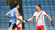 27 January 2018; Marc O'Se of An Ghaeltacht shakes hands with Sean Cavanagh of Moy Tir na nÓg before the AIB GAA Football All-Ireland Intermediate Club Championship Semi-Final match between An Ghaeltacht and Moy Tir na nÓg at Semple Stadium in Tipperary. Photo by Matt Browne/Sportsfile