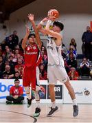 27 January 2018; Darragh O'Sullivan of Neptune attempts a last second 3 point attempt which would have tied the game, despite the best efforts of Kris Arcilla of Templeogue, during the Hula Hoops Under 18 Men's National Cup Final match between Neptune and Templeogue at the National Basketball Arena in Tallaght, Dublin. Photo by Brendan Moran/Sportsfile