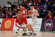 27 January 2018; Darragh O'Sullivan of Neptune in action against Kris Arcilla of Templeogue during the Hula Hoops Under 18 Men's National Cup Final match between Neptune and Templeogue at the National Basketball Arena in Tallaght, Dublin. Photo by Eóin Noonan/Sportsfile
