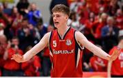 27 January 2018; Tom Phelan of Templeogue celebrates after during the Hula Hoops Under 18 Men's National Cup Final match between Neptune and Templeogue at the National Basketball Arena in Tallaght, Dublin. Photo by Brendan Moran/Sportsfile
