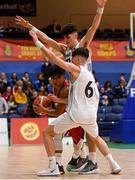 27 January 2018; Kris Arcilla of Templeogue in action against Darragh O'Sullivan and Kelvin O'Donoghue of Neptune during the Hula Hoops Under 18 Men's National Cup Final match between Neptune and Templeogue at the National Basketball Arena in Tallaght, Dublin. Photo by Eóin Noonan/Sportsfile