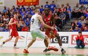 27 January 2018; Aston Kisuka of Templeogue in action against David Murray of Neptune during the Hula Hoops Under 18 Men's National Cup Final match between Neptune and Templeogue at the National Basketball Arena in Tallaght, Dublin. Photo by Eóin Noonan/Sportsfile