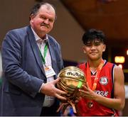 27 January 2018; Kris Arcilla of Templeogue is presented with the MVP by Basketball Ireland General Secretary Bernard O'Byrne after the Hula Hoops Under 18 Men's National Cup Final match between Neptune and Templeogue at the National Basketball Arena in Tallaght, Dublin. Photo by Brendan Moran/Sportsfile