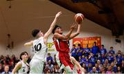 27 January 2018; Kris Arcilla of Templeogue in action against James Hannigan of Neptune during the Hula Hoops Under 18 Men's National Cup Final match between Neptune and Templeogue at the National Basketball Arena in Tallaght, Dublin. Photo by Eóin Noonan/Sportsfile