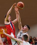 27 January 2018; Matthew Harper of Templeogue in action against Scott Hannigan of Neptune during the Hula Hoops Under 18 Men's National Cup Final match between Neptune and Templeogue at the National Basketball Arena in Tallaght, Dublin. Photo by Eóin Noonan/Sportsfile