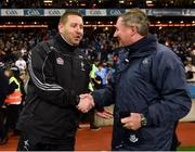 27 January 2018; Kildare manager Cian O'Neill, left, and Dublin manager Jim Gavin shake hands following the Allianz Football League Division 1 Round 1 match between Dublin and Kildare at Croke Park in Dublin. Photo by Seb Daly/Sportsfile