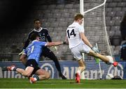 27 January 2018; Daniel Flynn of Kildare, right, shoots to score his side's first goal of the game past Stephen Cluxton of Dublin during the Allianz Football League Division 1 Round 1 match between Dublin and Kildare at Croke Park in Dublin. Photo by Seb Daly/Sportsfile
