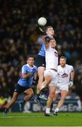 27 January 2018; Brian Fenton of Dublin, supported by team-mate Niall Scully, in action against Tommy Moolick of Kildare, supported by team-mate Johnny Byrne during the Allianz Football League Division 1 Round 1 match between Dublin and Kildare at Croke Park in Dublin. Photo by Piaras Ó Mídheach/Sportsfile
