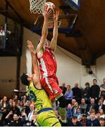 27 January 2018; Lorcan Murphy of Black Amber Templeogue scoring a basket late in the game despite the efforts of Jordi Vall-Llobera of UCD Marian during the Hula Hoops Pat Duffy National Cup Final match between UCD Marian and Black Amber Templeogue at the National Basketball Arena in Tallaght, Dublin. Photo by Eóin Noonan/Sportsfile