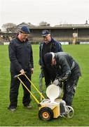 28 January 2018; Cusack Park groundsmen, from left, John Fall, Noel Cooney and Michael Maher prepare the pitch prior to the Allianz Hurling League Division 1A Round 1 match between Clare and Tipperary at Cusack Park in Ennis, County Clare. Photo by Stephen McCarthy/Sportsfile