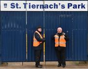 28 January 2018; Stewards Pat Leahy, left, from Clones, and Michael Garrity, from Omagh, Co. Tyrone, man the main gate prior to the Allianz Football League Division 1 Round 1 match between Monaghan and Mayo at St Tiernach's Park in Clones, County Monaghan. Photo by Seb Daly/Sportsfile