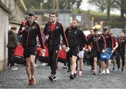 28 January 2018; Brendan Harrison of Mayo, left, arrives with his teammates prior to the Allianz Football League Division 1 Round 1 match between Monaghan and Mayo at St Tiernach's Park in Clones, County Monaghan. Photo by Seb Daly/Sportsfile