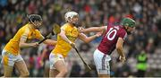 28 January 2018; Niall Burke of Galway in action against David Kearney, left, and Conor McKinley of Antrim during the Allianz Hurling League Division 1B Round 1 match between Galway and Antrim at Pearse Stadium in Galway. Photo by Daire Brennan/Sportsfile