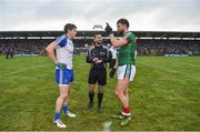 28 January 2018; Referee David Gough, with captains Darren Hughes of Monaghan, left, and Aidan O'Shea of Mayo during the coin toss prior to the Allianz Football League Division 1 Round 1 match between Monaghan and Mayo at St Tiernach's Park in Clones, County Monaghan. Photo by Seb Daly/Sportsfile