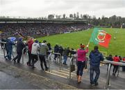 28 January 2018; A Mayo supporter waves a flag during the Allianz Football League Division 1 Round 1 match between Monaghan and Mayo at St Tiernach's Park in Clones, County Monaghan. Photo by Seb Daly/Sportsfile
