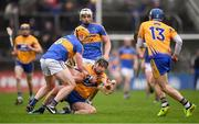 28 January 2018; John Conlon of Clare in action against Padraic Maher of Tipperary during the Allianz Hurling League Division 1A Round 1 match between Clare and Tipperary at Cusack Park in Ennis, County Clare.  Photo by Stephen McCarthy/Sportsfile