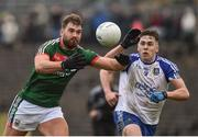 28 January 2018; Aidan O'Shea of Mayo in action against Niall Kearns of Monaghan during the Allianz Football League Division 1 Round 1 match between Monaghan and Mayo at St Tiernach's Park in Clones, County Monaghan. Photo by Seb Daly/Sportsfile