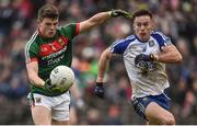 28 January 2018; Eoin O'Donoghue of Mayo in action against Fintan Kelly of Monaghan during the Allianz Football League Division 1 Round 1 match between Monaghan and Mayo at St Tiernach's Park in Clones, County Monaghan. Photo by Seb Daly/Sportsfile