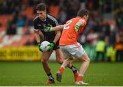 28 January 2018; Niall Murphy of Sligo in action against Patrick Burns of Armagh during the Allianz Football League Division 3 Round 1 match between Armagh and Sligo at Athletic Grounds in Armagh. Photo by Philip Fitzpatrick/Sportsfile